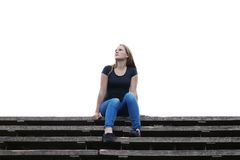 Young woman is lost in thought Royalty Free Stock Photo