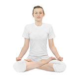 Young woman  in the lotus position Royalty Free Stock Photography