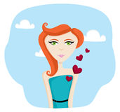 Young woman in love. A Beautiful young woman giving her heart away Royalty Free Stock Image