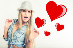 Young woman in love Stock Photos