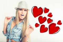 Young woman in love Stock Images
