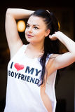 Young woman loving her boyfriend Royalty Free Stock Photography