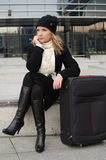 Young woman with luggage Royalty Free Stock Image
