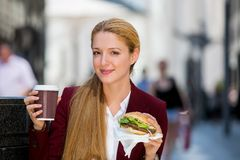 Young woman on lunch break Stock Image