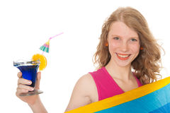 Young woman with luxury cocktail Royalty Free Stock Photos