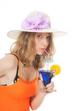 Young woman with luxury cocktail Stock Images
