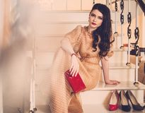 Young woman in luxury house interior Royalty Free Stock Images