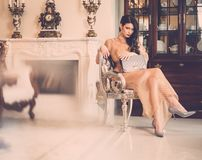 Young woman in luxury house interior Royalty Free Stock Photo