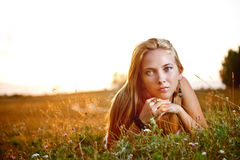 Young woman lying Stock Photography