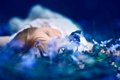 Young woman lying down in spring blue flowers. Royalty Free Stock Images