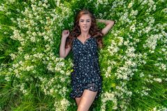 Young woman lying down in white wildflowers . stock photos