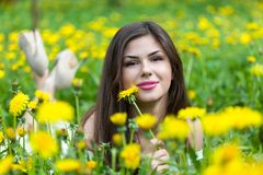 Young woman is lying on field Stock Photo