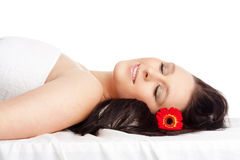 Young Woman Lying on her Back in Spa Relaxing Stock Photography