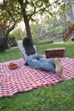 Young woman lying on her stomach on a checkered blanket and reading in the park, having a picnic Royalty Free Stock Images