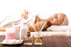 Young woman lying at spa Stock Photography