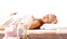 Young woman lying at spa Stock Photo
