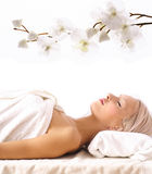 Young woman lying at spa Stock Image