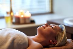 Young woman lying in spa Stock Photo