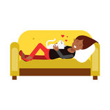 Young woman lying on an yellow sofa and embracing her white cat  Illustration. Isolated on a white background Royalty Free Stock Photography