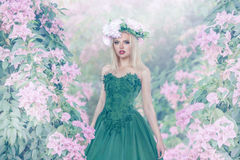 Young woman in magic forest Royalty Free Stock Photos