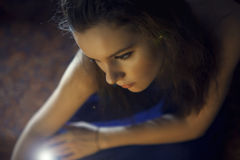 Young woman with magic shine Royalty Free Stock Images