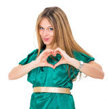 Young woman make heart Royalty Free Stock Photography