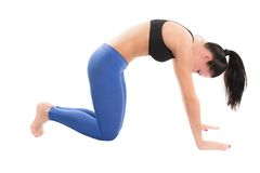 Young woman make stretch on yoga pose. On isolated white background stock images