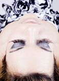 Young woman make up. Detail of the make up of eyelashes in a young beautiful woman Royalty Free Stock Image