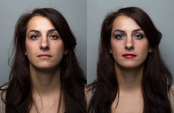 Young woman before and after make up Stock Photo