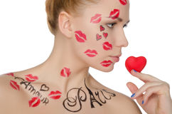 Young woman with make-up on topic of France stock photo