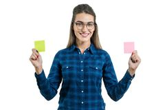 Young woman makes a choice. Royalty Free Stock Images