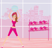 Young woman makes exercise with fitball Stock Image