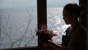 Young woman makes floral bouquet standing by window. stock video