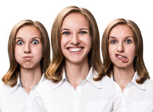 Young woman makes fun faces Stock Image