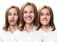 Young woman makes fun faces Royalty Free Stock Photography