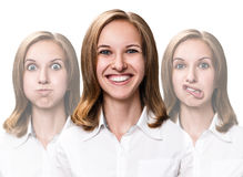 Young woman makes fun faces Royalty Free Stock Photo