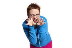 Young woman makes funny face (isolated on white) Stock Photography