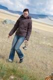 A young woman makes a walk Royalty Free Stock Photos