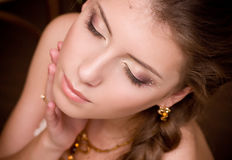Young woman with makeup Royalty Free Stock Photos