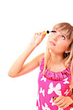 Young woman makeup with mascara isolated Stock Images