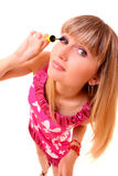 Young woman makeup with mascara isolated Royalty Free Stock Image