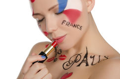 Young woman with makeup on theme of Paris Stock Photos