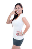 Young Woman Making A Call Me Gesture Stock Photos