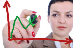Young woman making a chart. On glass Stock Photo