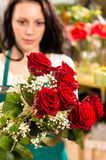 Young woman making flower bouquet florist shop royalty free stock image