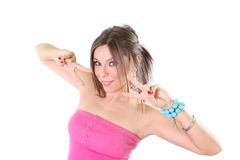 Young woman making a hands gesture Stock Image