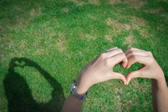Young woman making love heart shadow symbol by hands over grass. royalty free stock photos