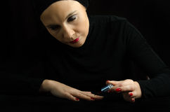 Young Woman Making Manicure Royalty Free Stock Photo