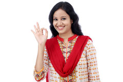 Young woman making Ok gesture Royalty Free Stock Images