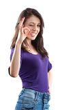 Young woman making OK sign. Young brunette woman making OK sign isolated on white Stock Photos